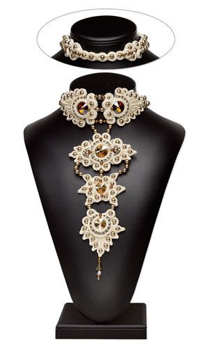 Bib-Style Necklace with SWAROVSKI ELEMENTS and Soutache