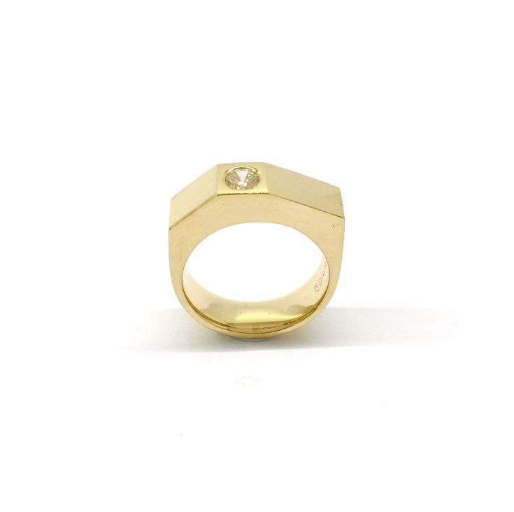 Yellow gold and white diamond geometric men's ring by Sirkel Jewellery Design