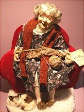 Grandma doll comes with her knitting, rug, cat, chair...Sold in DOLLS/VINTAGE.
