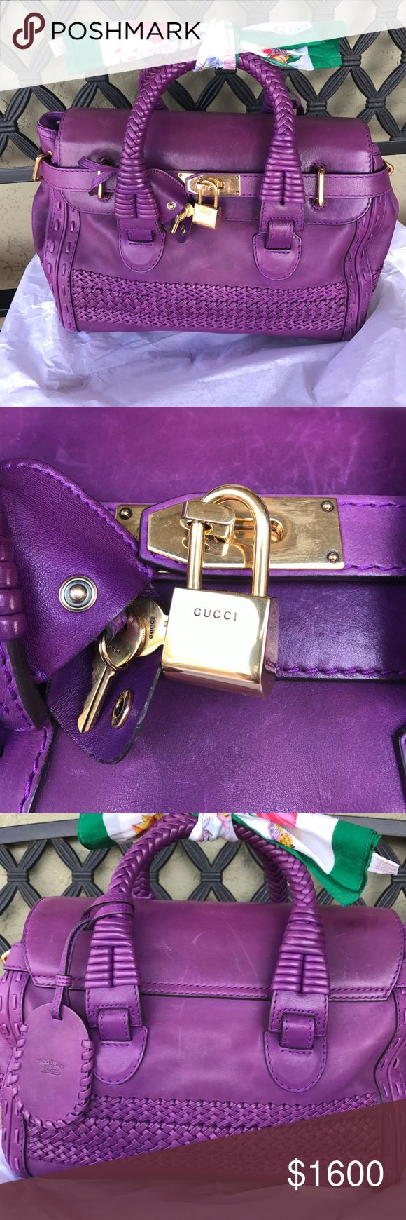 Authentic Limited Edition Gucci Satchel Tags from Gucci still attached. Never been used or carried. The leather is distressed since it's a handcrafted dyed leather  scuffs from display; woven handles and braided detail throughout; flap and belted strap closure in front with hardware to secure and lock. Brass metal detailing  Removable luggage tag on bag with one minor spot (see pictures). Canvas lined; one zipper pouch; 2 additional pouches for phone and accessories. Three bamboo feet on…