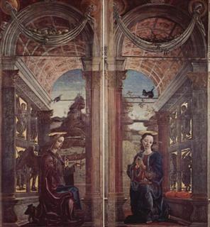 FERRARA - MUSEO DELLA CATTEDRALE - Ante aperte: Annunciazione (Cosmè Tura)