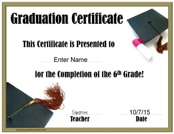 Graduation Certificate for every grade (customize online then print) Free!