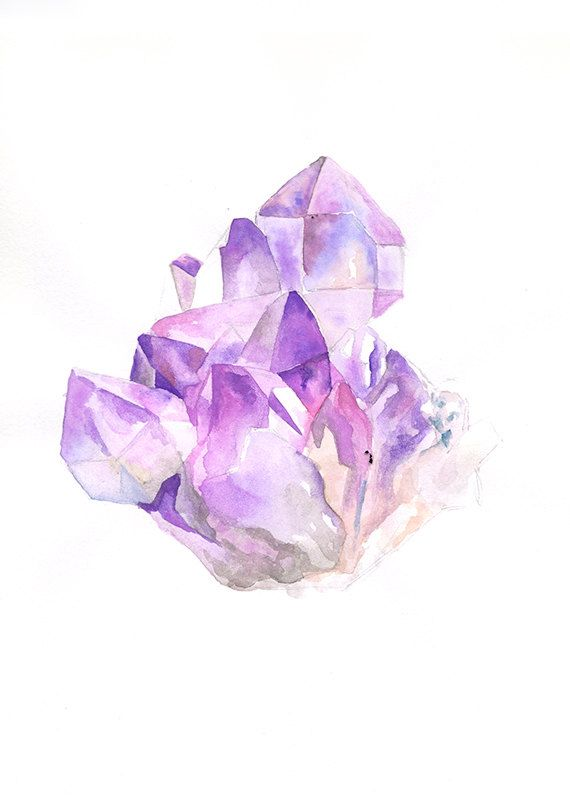 Amethyst Cluster  8 x 10 Art Print by songdancedesign on Etsy, $12.00