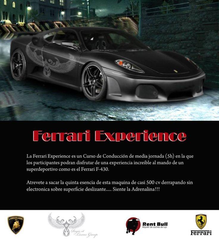 La Ferrari Experience es un Curso de Conducción de media jornada (5h) en la que los participantes podrán disfrutar de una experiencia increíble a los mandos de un superdeportivo como es el Ferrari F-430 (también disponible el Lamborghini Gallardo). Atrévete a sacar la quinta esencia de esta máquina de casi 500 cv derrapando sin electrónica sobre superficie deslizante.... siente la adrenalina!!  http://es.rentbull.es/index.php/contacto