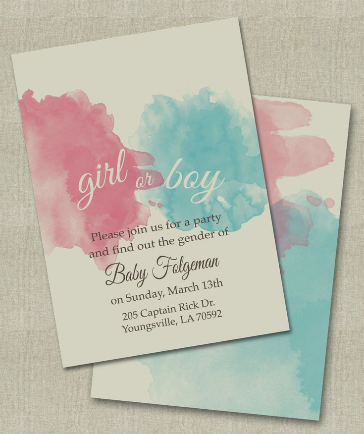 Gender Reveal Invitations. On Etsy.