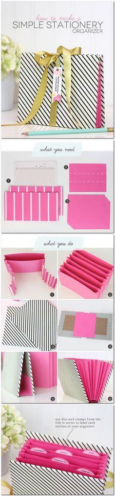 How to make a simple Stationery Organizer // DIY Clasificador carpeta