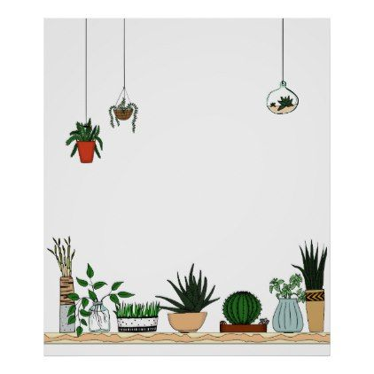 Home Potted Plants Doodle Art Poster - minimal gifts style template diy unique personalize design
