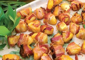 Bacon Pineapple Bites - sprinkle a little rum over the top before baking to give it a boost :) .. they are always the first to go !!