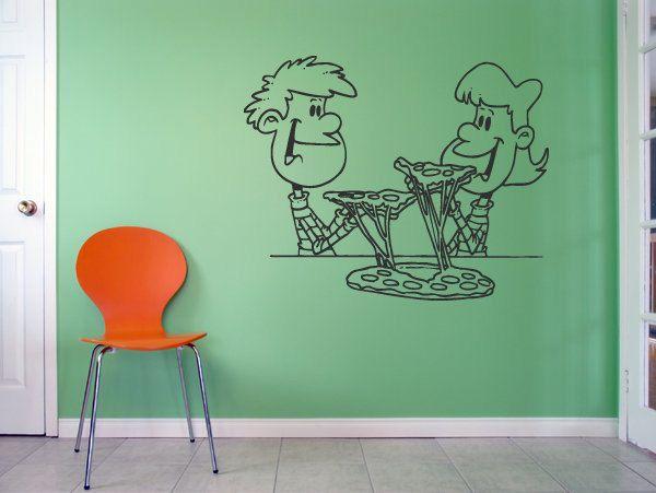 wall vinyl sticker decals mural room design pattern pizza slice food kitchen bo1348 - Wall Vinyl Designs