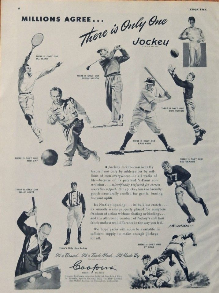 Jockey 40 s Print ad  Illustration  there is only one Ty Cobb  Ned Day  Willie Hoppe  Byron Nelson