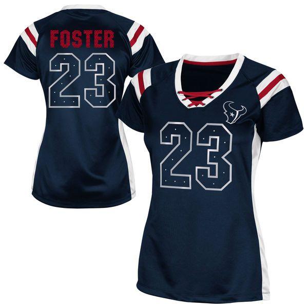 Arian Foster Houston Texans Women's Draft Him Shimmer V-Neck T-Shirt – Navy Blue - $17.99