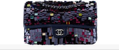 классическая сумка-конверт, вышитая кожа ягненка и черный металл-темно-синий - CHANEL ШАНЕЛЬ
