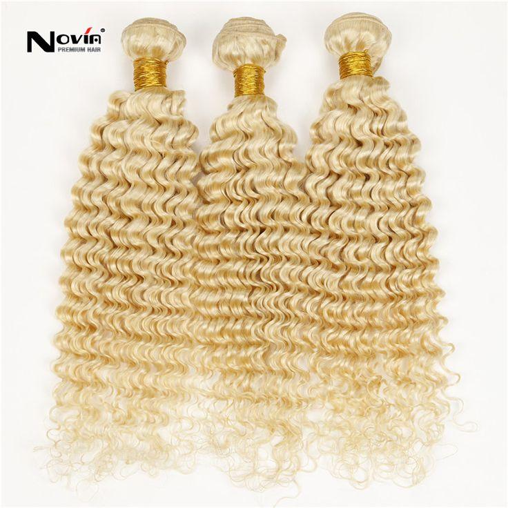 ブラジル ブロンド バージン ヘア深い波毛3 ピース プラチナ ブロンド巻き毛横糸613 ゴールド ブロンド人間の髪織り aliexpress英国