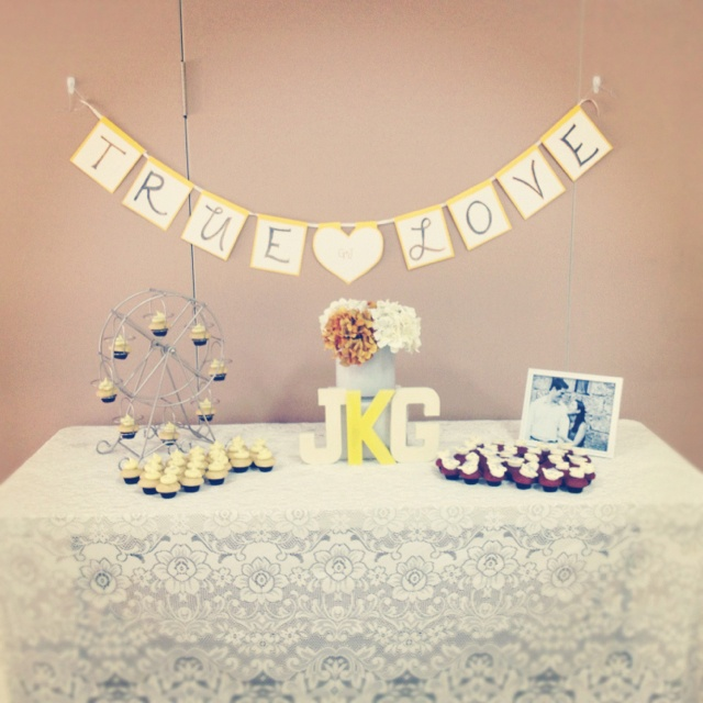 bridal shower cupcake table.