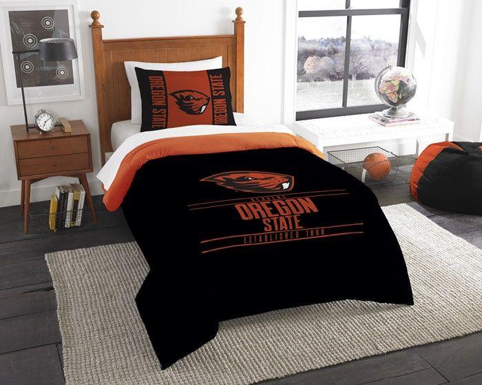 Oregon State Beavers Modern Take Twin Comforter Set. Includes 1 Sham and 1 Twin Comforter. Visit SportsFansPlus.com for Details.