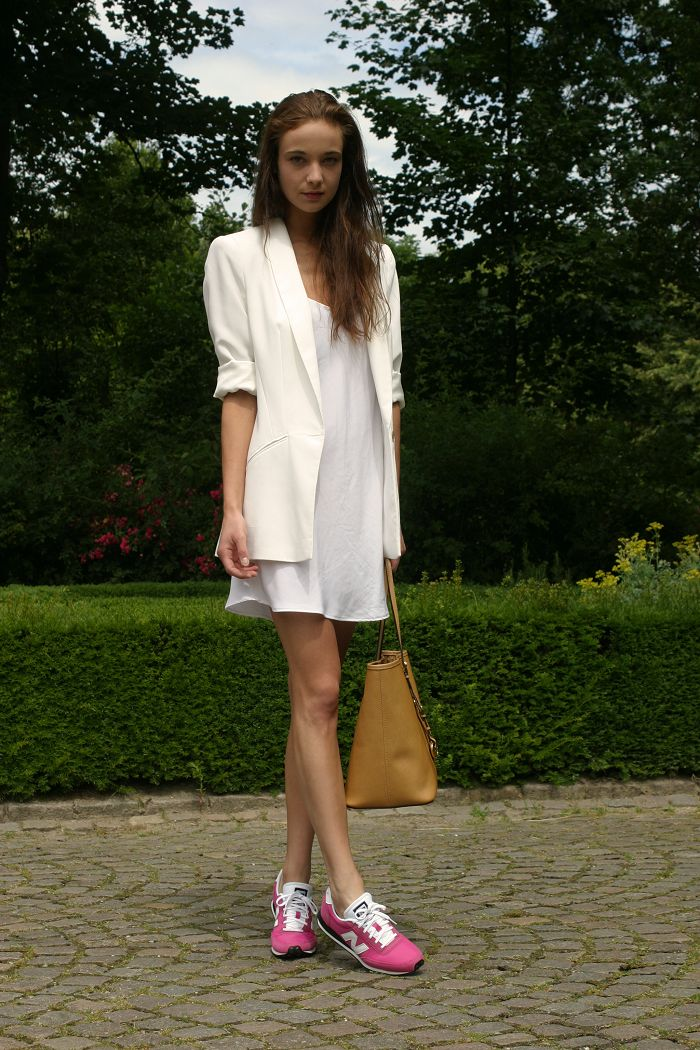 Zara blazer, Zara dress, New Balance sneakers, Michael Kors bag.
