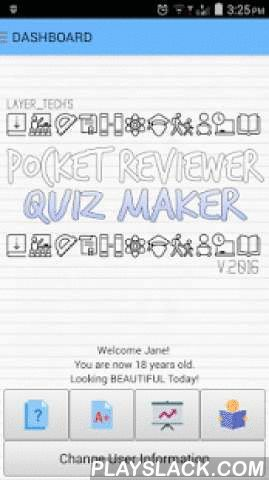 "Reviewer Quiz Maker FREE  Android App - playslack.com ,  The LATEST, 2016 RELEASE of the Pocket Reviewer Quizmaker - FREE EDITION! GET THE USER MANUAL HERE:https://drive.google.com/file/d/0B38vUt_e0BogSDhBeFlEVDJsSVk/viewFEATURES:User ProfileManage SubjectsManage Questions (Manual Input, CSV IMPORT/EXPORT)Improved ""Quiz Time"" - Set TIME LIMITUSER RATING - check your scores, ratings and progressand the ALL NEW:MEMORIZE feature!This app is perfect for studying for exams (for licensure exams)…"