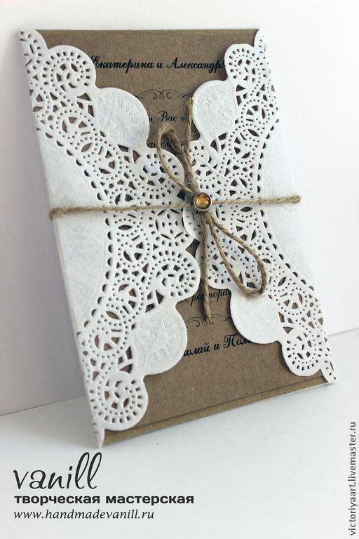 Купить Приглашение на свадьбу в стиле рустик - белый, крафт, приглашение, приглашения на свадьбу, пригласительное