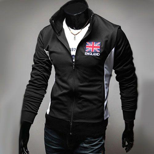 Veste Jogging Homme Fashion Casual Coupe du monde Jacket Sport Angleterre Noir