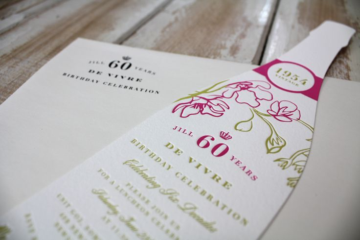 Champagne 60th Birthday {Letterpress} {Designed and Printed by Little Peach Co.}   Printing: 2-Colour Letterpress on Crane & Co. Lettra 300gsm, die-cut    Inspired by Jill's love of champagne, this invitation was such a fun one to bring to life!