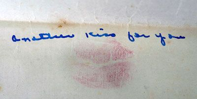 In a letter from Faye to Alvin, the flap was sealed with a kiss.