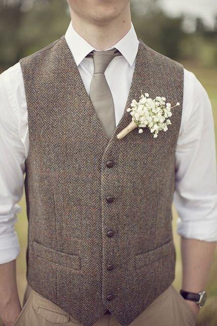 2016 Vintage Gray Tweed Vest Men Suit Vest Slim fit Groom's Wear Vest Wedding Waistcoat Hot Sale Mens Dress Vests Plus Size 6XL