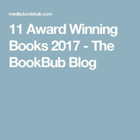11 Award Winning Books 2017 - The BookBub Blog