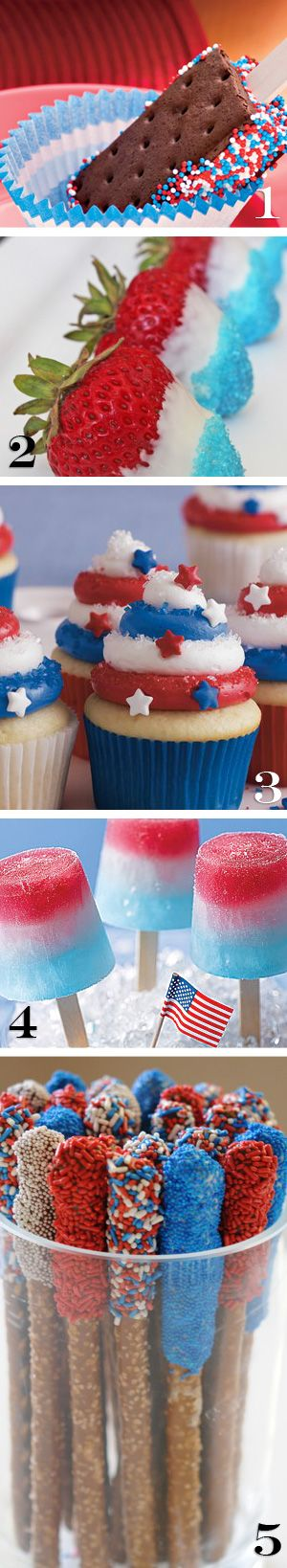 Patriotic Desserts ~ Spangled Sandwich Pop, All American Chocolate Covered Strawberries, Red,