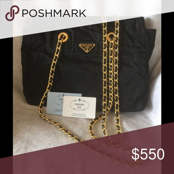 """Prada Tessuto Impuntu Nero Shoulder Bag Vintage, excellent condition. Comes with Authenticity card and dust cover. Double gold chain links with leather handles, shoulder drop 16"""" Prada Bags Shoulder Bags"""
