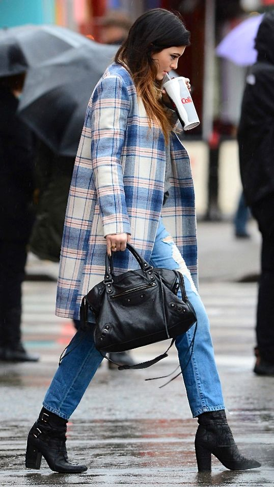 kylie jenner. plaid overcoat. balenciaga. booties.