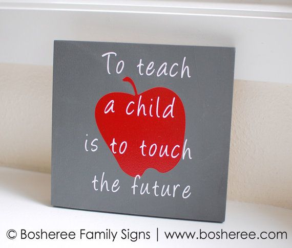 Teacher Quote Sign  7x7 Painted Wood Sign   Great Gift by Bosheree, $10.00