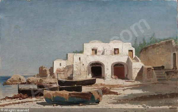LETO Antonino,Spiaggia a Capri con barche,Finarte