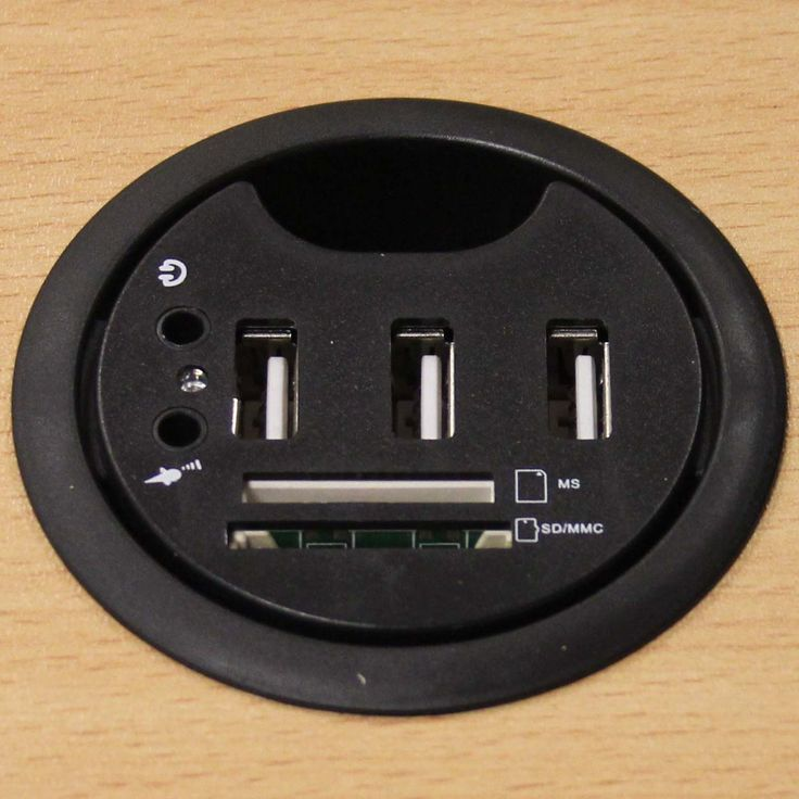 Usb Desk Grommet With 3 Multi Card Reader And Headphone Microphone Jacks Diameter Inch Pi Manufacturing