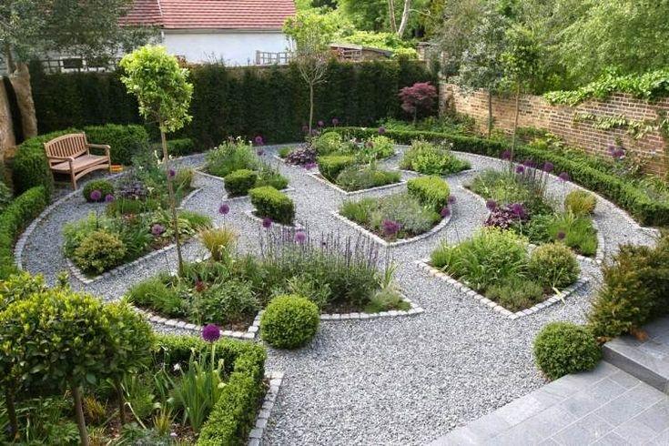 gravier décoratif et plantes pour le jardin