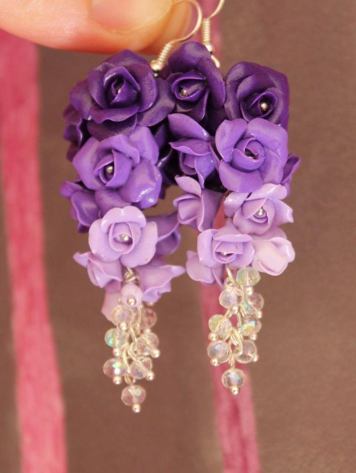 Purple Roses Flowers Earrings / Handmade Polymer Clay #Handmade #DropDangle