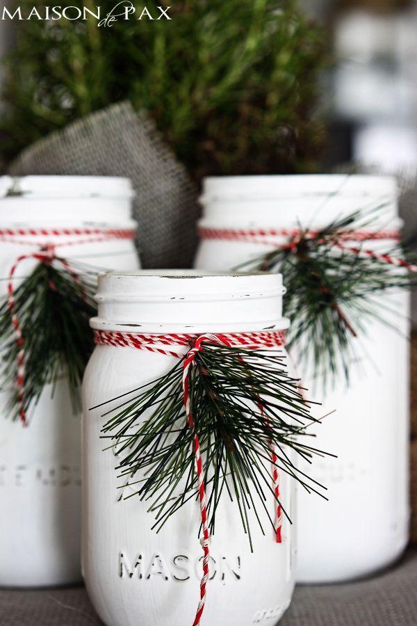 Mason jar luminaries - adorable and easy Christmas decor via maisondepax.com #diy #holiday #decoration