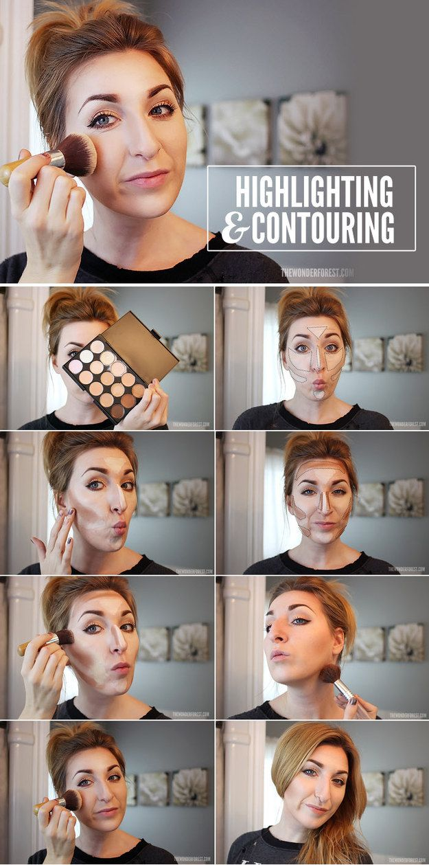 Contouring and highlighting really just takes some good placement. | 27 Charts That Will Help You Make Sense Of Makeup