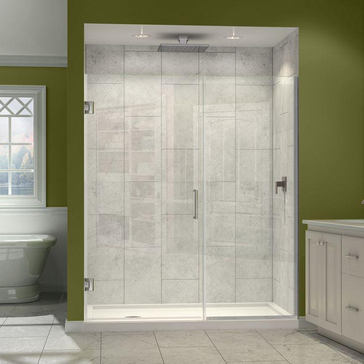 DreamLine Unidoor Plus 72 In. H X 60   61 In. W Frameless Hinged Shower Door,  Half Frosted Glass