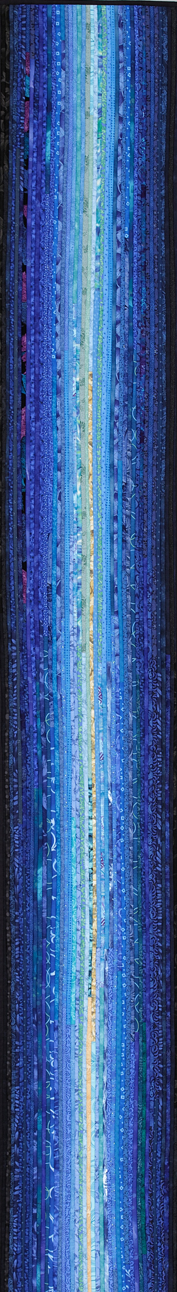 "Taking advantage of the length that Pinterest allows me--this is my quilt--blue river--12 x 80"". Yes, it is pieced of very thin strips of commercial cottons and can be either a long wall hanging or a table runner--and yes, I can go as l--o--n--g as you want. #quilts #artquilts http://www.annbrauer.com"