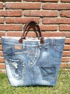 Recycled Denim tote DIY +++RECICLA TEJANOS PANTALONES COMO BOLSA MANUALIDAD COSER