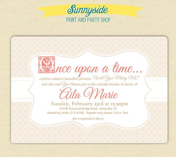 Once Upon A Time Bridal Shower Storybook Invitation, Printable Invite,  Blush Pink U0026 Gold Wedding Shower