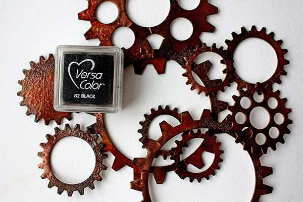 How To Make Chipboard Look Like Rusty Metal ~ a great tutorial for getting that vintage Steampunk look for your heritage page embellishments.