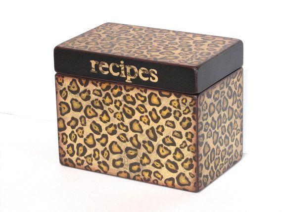 Recipe Box   Cheetah Spots   4x6 Inch Recipe Card Wood Box   Personalized