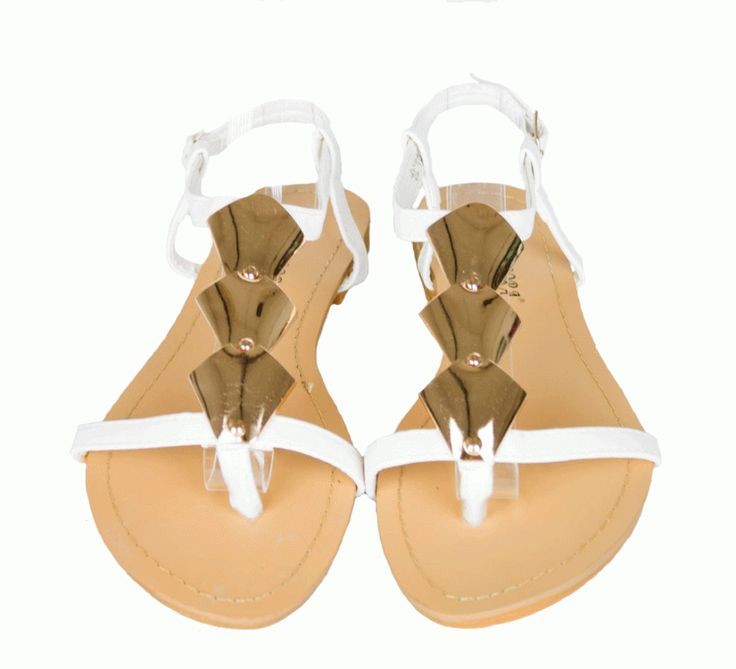 Sandale Dama Rhomb White  -Sandale dama  -Talpa joasa  -Detaliu auriu  -Se inchid cu catarama