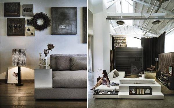 Ecksofa Design-Wohnlandschaft recht eckige-Kanten FFURNITURE - design sofa plat von arketipo mit integriertem regal und beistelltisch