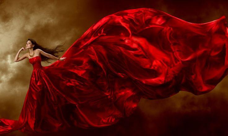 Скачать обои девушка, красное платье, шлейф, раздел девушки в разрешении 800x480
