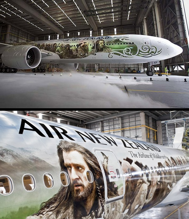 """Air New Zealand unveils their Middle Earth Boeing 777"". I got to fly on this while on my travels there. It was amazing."