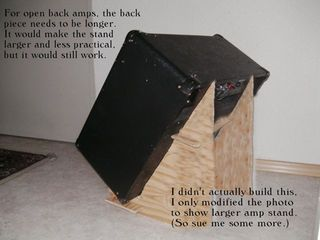 Guitar amp tilt stand - easy as lincoln logs. small, portable, simple, stable, cheap or free using scrap plywood. Great for combo amps, larger design can be used...