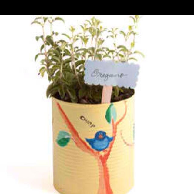 Cool kids Tin can herb garden Idea