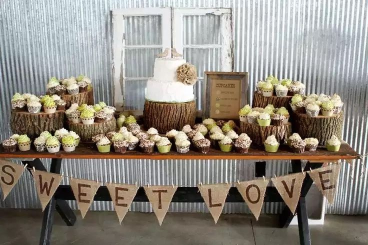 Love this!! Small cake and lots of cupcakes.. You could have fun with this! Chose different flavors for your cupcakes. Set up similar to this, I have a cute rustic white dresser that you could use to set your cake on...